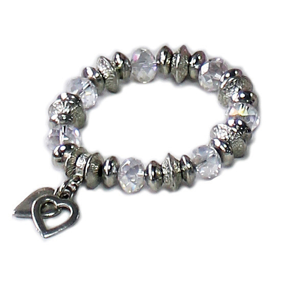 Luna London Bracelet Two Heart Pewter Crystal Sparkle Gift