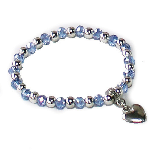 Luna London Bracelet Light Blue Pewter Bead Sparkle Gift
