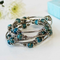 Bracelet Spiral Wrap Turquoise Gift Boxed Sparkle Gift