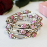 Bracelet Spiral Wrap Pale Pink Gift Boxed Sparkle Gift