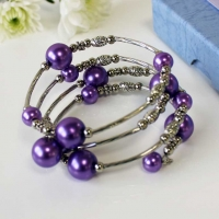 Bracelet Spiral Wrap Pearlised Bead Purple Boxed Sparkle Gift