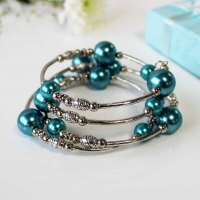 Bracelet Spiral Wrap Pearlised Beads Turquoise Box Sparkle Gift