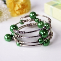 Bracelet Spiral Wrap Pearlised Beads Green Boxed Sparkle Gift