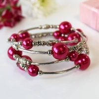 Bracelet Spiral Wrap Pearlised Beads Cerise Boxed Sparkle Gift