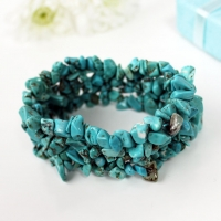 Bracelet Stretch Stonechip Cuff Turquoise Boxed Sparkle Gift
