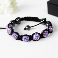 Bracelet Shamballa Crystal Beads Purple Gift Boxed Sparkle Gift