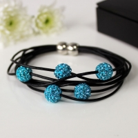 Bracelet Leather Straps Crystal Magnetic Turquoise Sparkle Gift