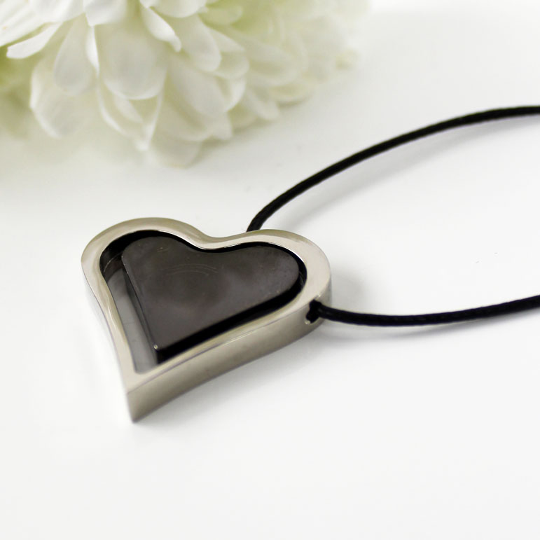 Necklace Double Heart Stainless Steel Black Sparkle Gift