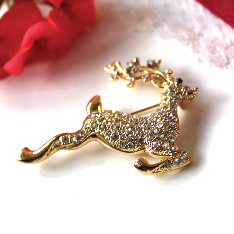 Vintage Christmas Deer Brooch Gold Sparkle Gift