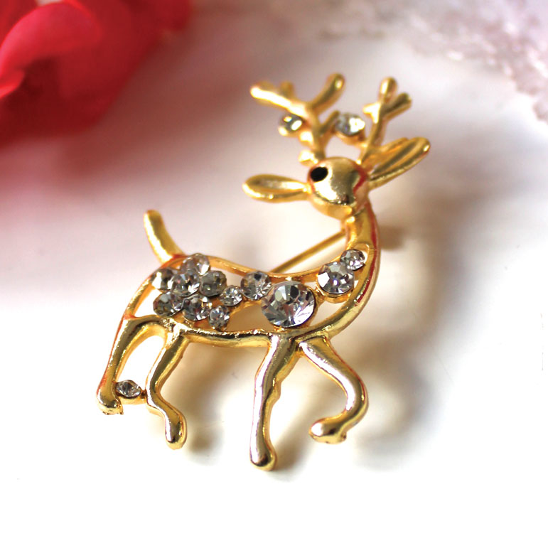 Vintage Deer Brooch Gold Sparkle Gift