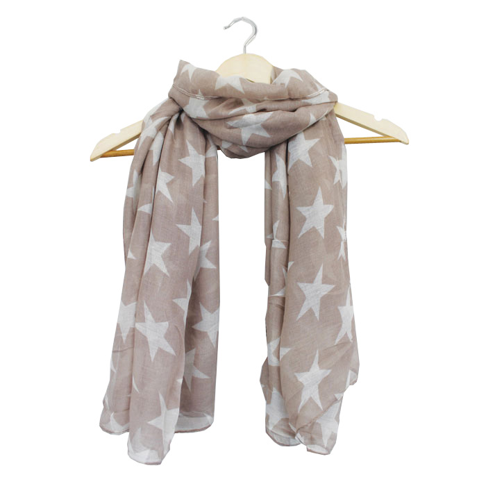 Ladies Scarf Large Star Design Nude:oyster Sparkle Gift