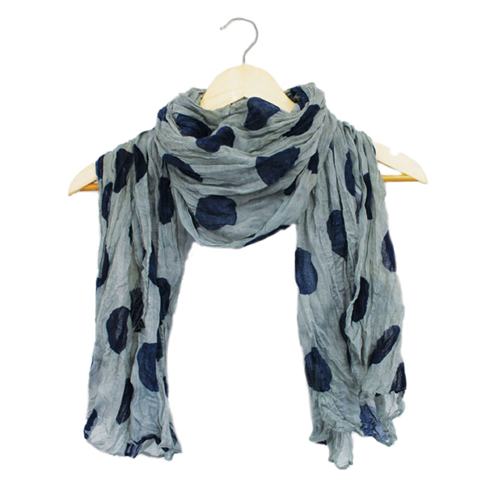 Ladies Scarf Large Spot Design Grey + Navy Spots             Sparkle Gift