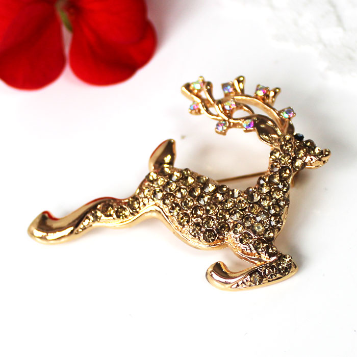 Vintage Christmas Deer Brooch Gold + Gold Jewels Sparkle Gift