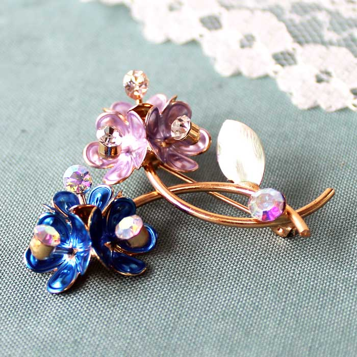 Vintage Flower Brooch Blue and Lilac Sparkle Gift