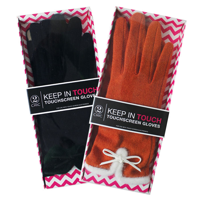Pair of Touchscreen Gloves 2 Pack Orange & Black Sparkle Gift