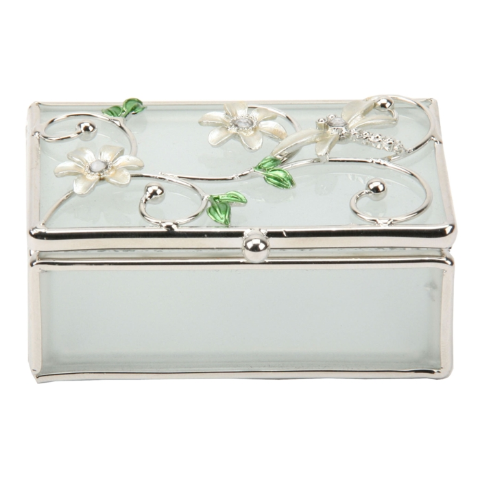 Glass & Wire Trinket Box Dragonfly Ivory Sparkle Gift