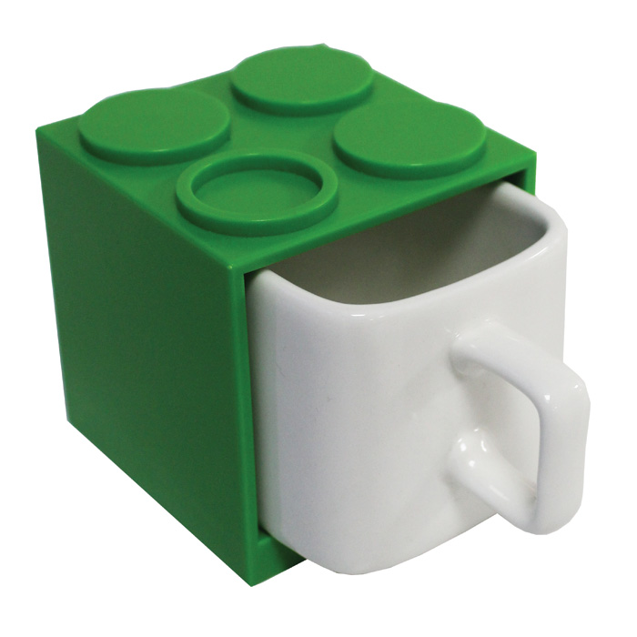 Cube Mugs Large Green Sparkle Gift