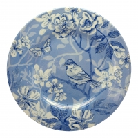 Blue Bird Toile Plate 21cm Edward Challinor Pack 6 Sparkle Gift