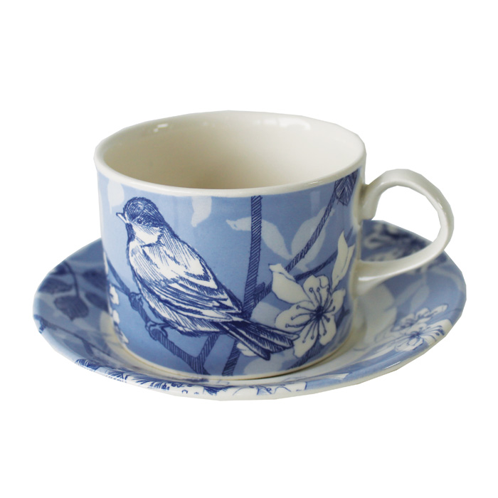 Blue Bird Toile Teacup & Saucer Edward Challinor 6 Sparkle Gift
