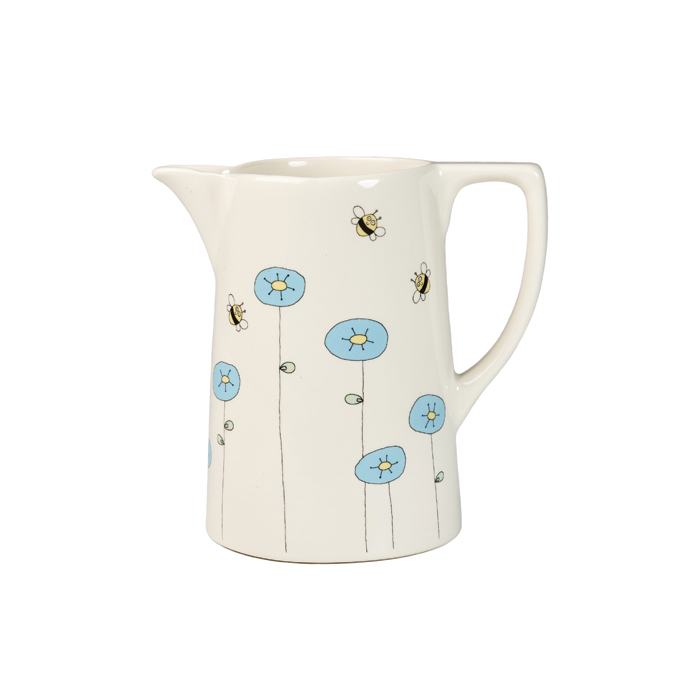 Helen Russell Cornflower & Bee Jug Medium Pack 4 Sparkle Gift