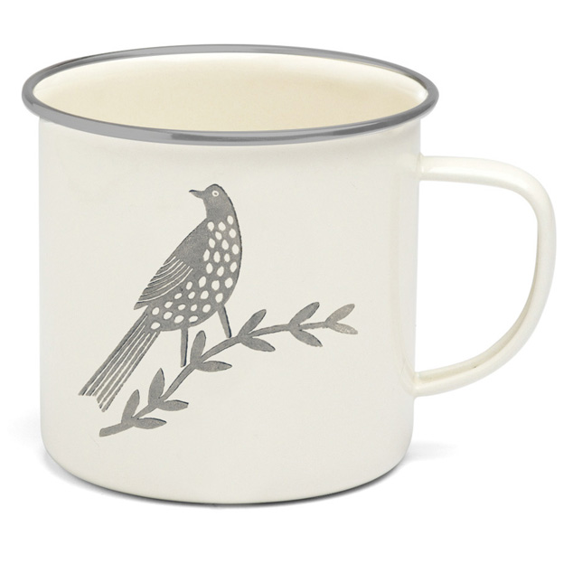 Songbird Grey Enamel Single Bird Mug Sparkle Gift