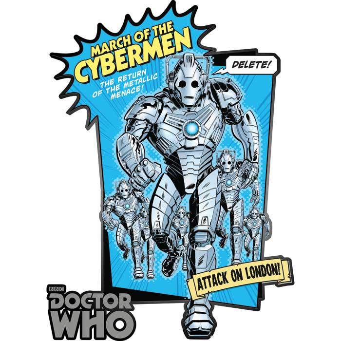 Doctor Who Comic Strip Wall Sticker Cyberman Panel Sparkle Gift