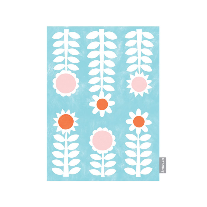 Ken Eardley Tea Towel New Flower Design Aqua Sparkle Gift
