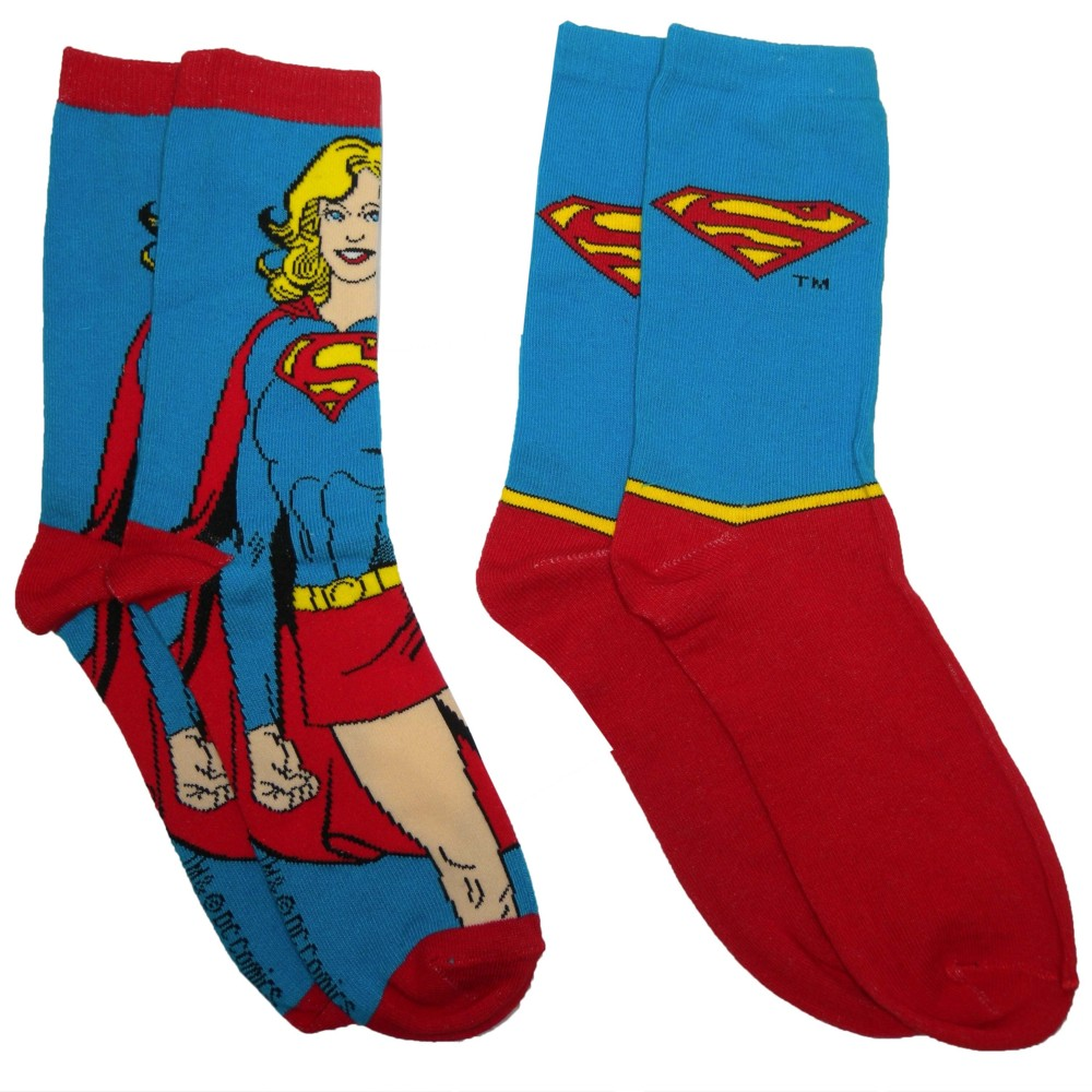 Dc Comics Socks Supergirl Ladies 2 Pck Size 4-7 Sparkle Gift