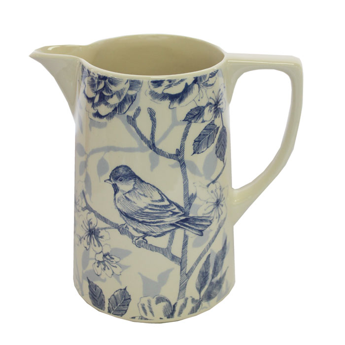 Blue Bird Toile Medium Jug Edward Challinor Pack 4 Sparkle Gift