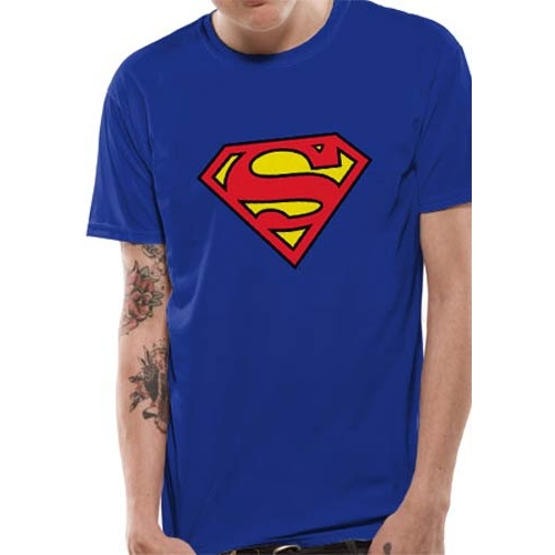 Superman T Shirt Logo Mens Large Sparkle Gift