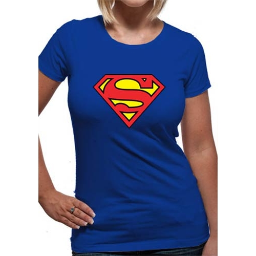 Superman T Shirt Logo Womens Large Sparkle Gift