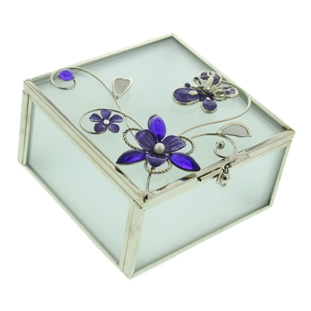 Glass & Wire Trinket Box Butterfly Purple                  Sparkle Gift