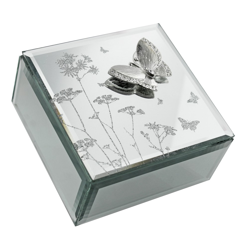 Glass Jewellery Box Butterfly & Flowers Sparkle Gift