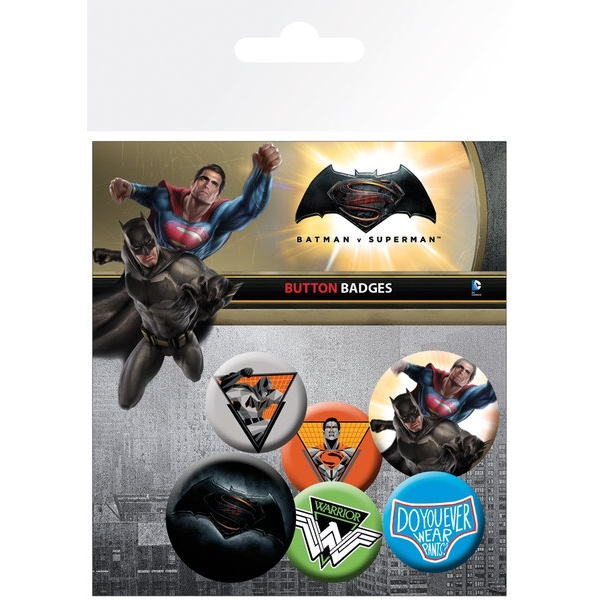 Batman V Superman Badge Pack Set of 6                      Sparkle Gift