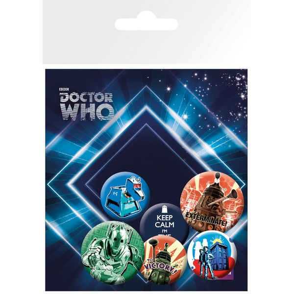 Doctor Who Badge Pack Retro Set of 6 Sparkle Gift