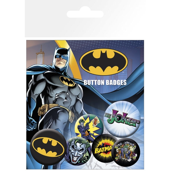 Batman Badge Pack Logo & Joker Set of 6                    Sparkle Gift