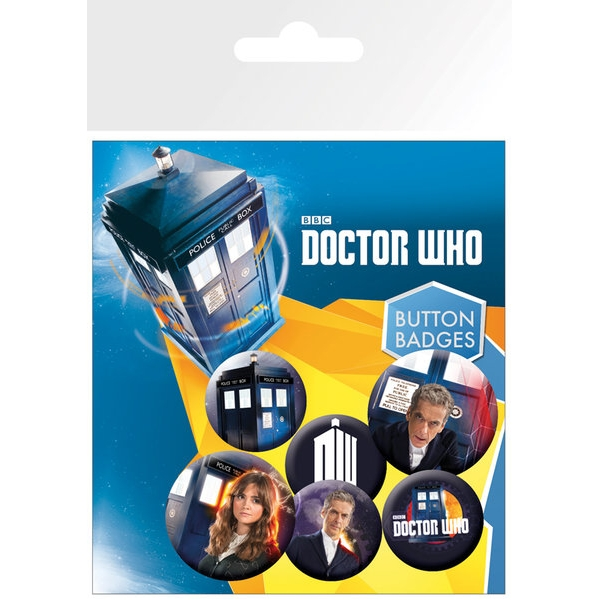 Doctor Who Badge Pack 12th Doctor Set of 6 Sparkle Gift