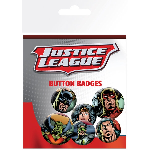 Dc Comics Badge Pack Justice League Faces Set of 6 Sparkle Gift