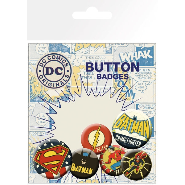Dc Comics Badge Pack Retro Set of 6 Sparkle Gift