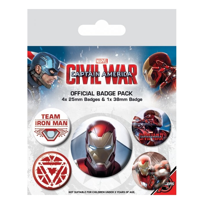 Marvel Badge Pack Civil War Iron Man Set of 5 Sparkle Gift