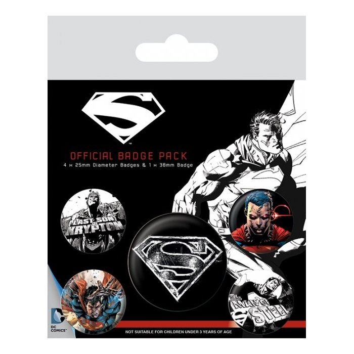 Superman Badge Pack Dark Set of 5 Sparkle Gift