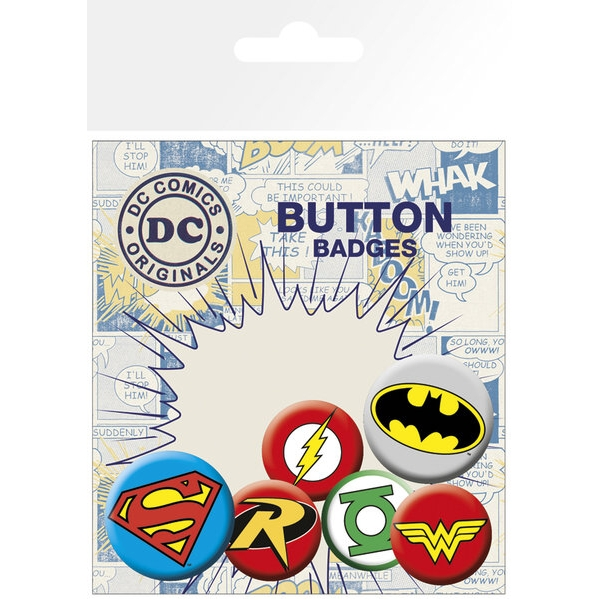 Dc Comics Badge Pack Logos Set of 6 Sparkle Gift