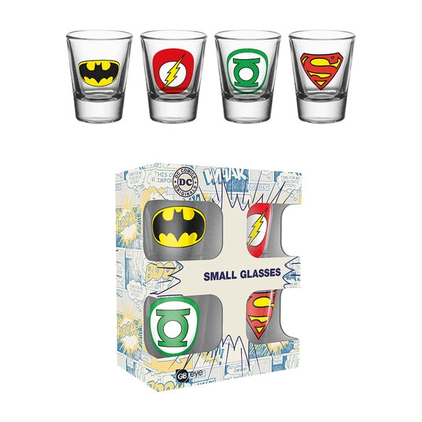Dc Comics Shot Glasses Logos Set of 4 Sparkle Gift