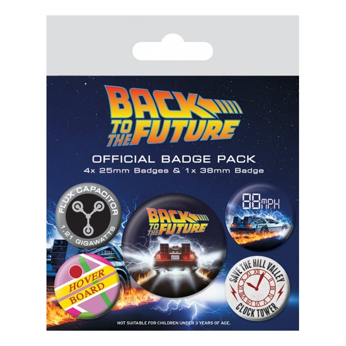 Back To The Future Badge Pack Delorean Pack of 5 Sparkle Gift