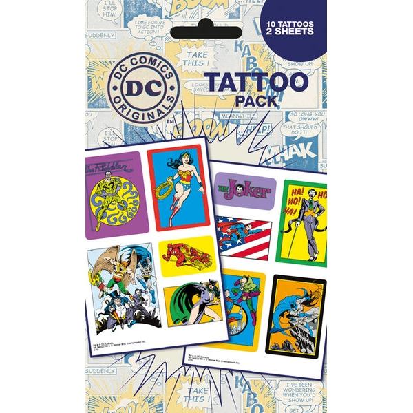 Dc Comics Tattoo Pack Heroes and Villains Sparkle Gift