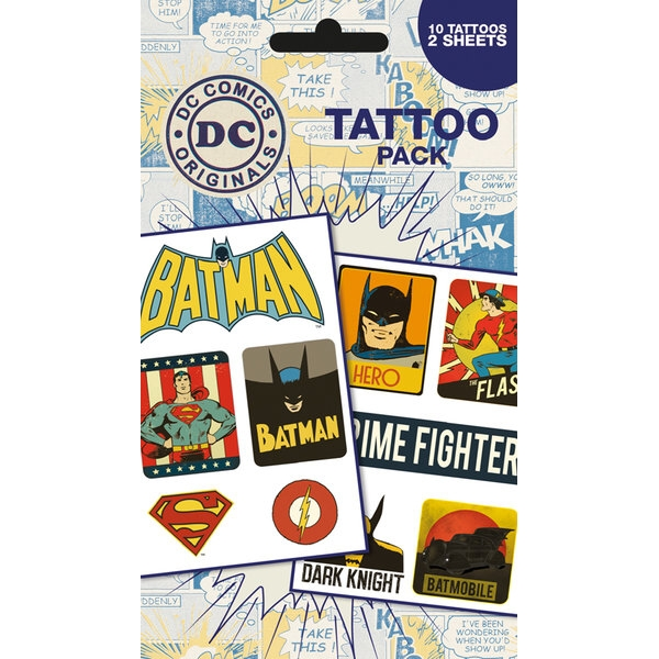 Dc Comics Tattoo Pack Retro Sparkle Gift
