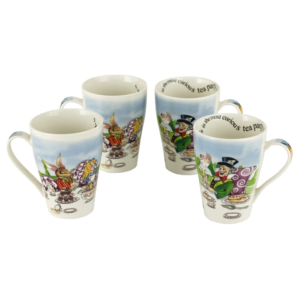 Alice Mug Tea Party 15oz Set of 4 Sparkle Gift