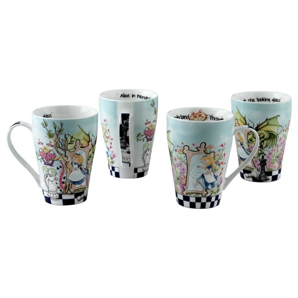 Alice Mug Through The Looking Glass 15oz Set of 4 Sparkle Gift