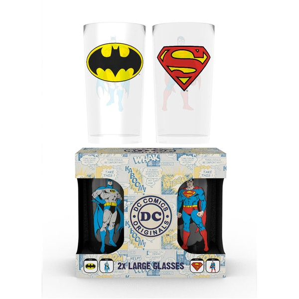 Dc Comics Large Glass Twin Pack Batman & Superman Sparkle Gift