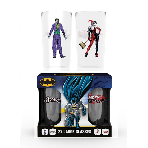 Dc Comics Large Glass Twin Pack Joker & Harley Sparkle Gift